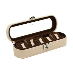 Béžový kožený box na 5 hodinek Friedrich Lederwaren Cordoba