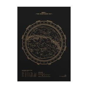 Plakát The Northern Sky Gold/Black, 50x70 cm