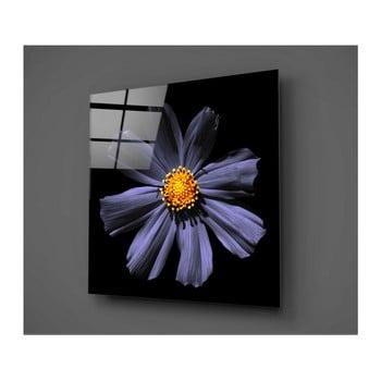 Tablou din sticlă Insigne Flowerina, 30 x 30 cm, negru-mov de la Insigne