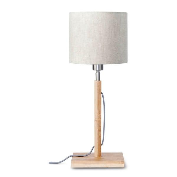 Fuji asztali lámpa világosbézs búrával és bambusz lámpatesttel - Good&Mojo