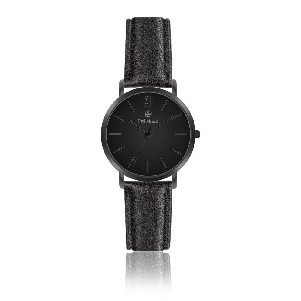 Dámské hodinky s černým koženým řemínkem Paul McNeal Noche, ⌀ 3,6 cm