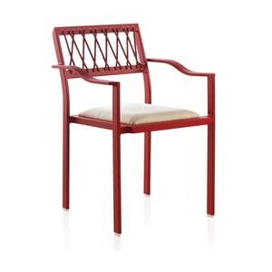 Červená zahradní židle s bílými detaily a područkami Geese Seally