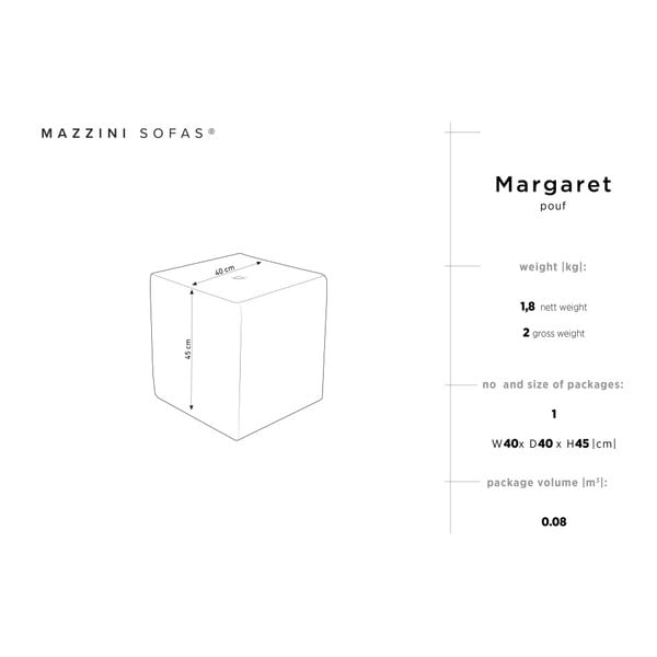 Růžový puf Mazzini Sofas Margaret, 40 x 45 cm