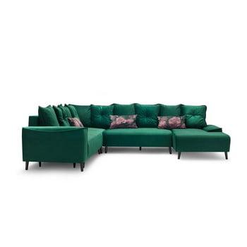Canapea extensibilă cu șezlong Bobochic Paris Hera, pe partea dreaptă, verde de la Bobochic Paris
