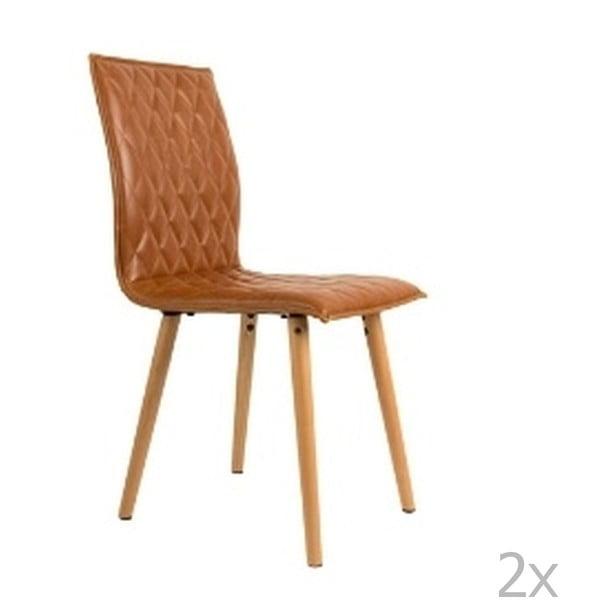 Sada 2 hnědých židlí White Label Andy