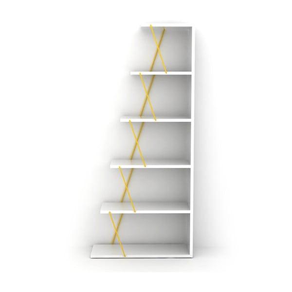 Rafevi Tars Mini fehér könyvespolc, sárga részletekkel