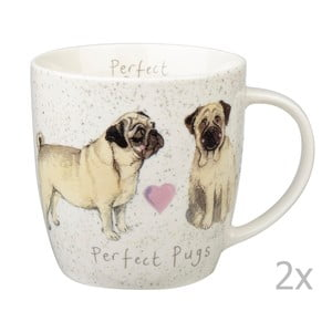 Sada 2 hrnků Churchill China Dog Pugs, 400 ml