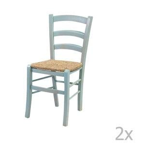 Sada 2 modrých židlí z masivního dřeva Crido Consulting Straw