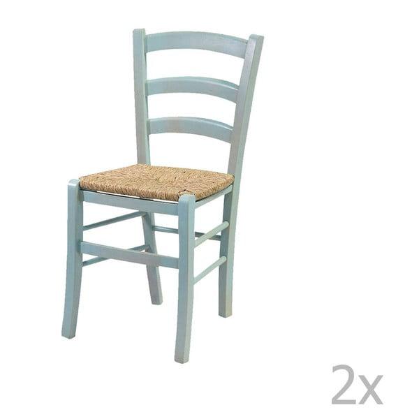 Set 2 scaune din lemn masiv Evegreen House Straw, albastru