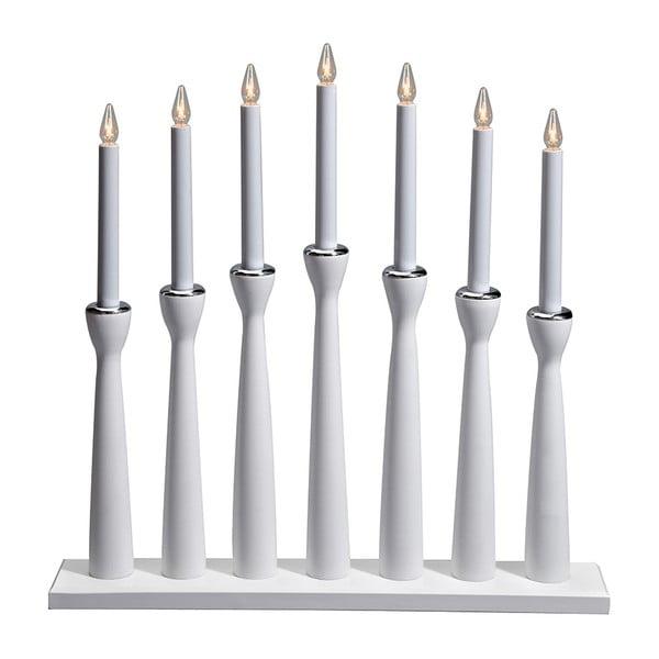 Bílý dřevěný svítící svícen Markslöjd Måseskär, výška 50 cm