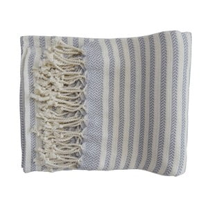 Prosop țesut manual din bumbac premium Safir, 100 x 80 cm, albastru deschis