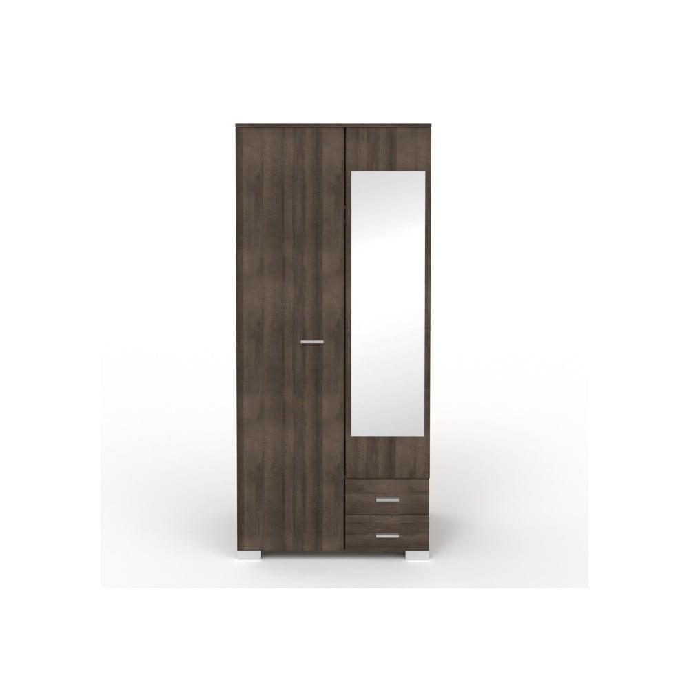 Dvoudveřová šatní skříň v dekoru ořechového dřeva se 2 zásuvkami a zrcadlem Parisot Alix