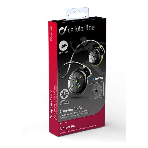Sportovní bezdrátová ergonomická sluchátka CellularLine, černo-zelená