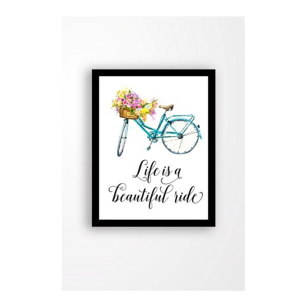 Tablou pe pânză în ramă neagră Tablo Center Bicycle, 29 x 24 cm