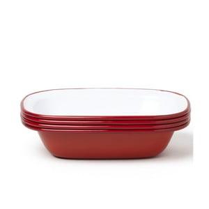 Sada 4 červených smaltovaných forem na koláč Falcon Enamelware
