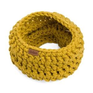 Hořčicově žlutý ručně háčkovaný kruhový nákrčník DOKE Sunny