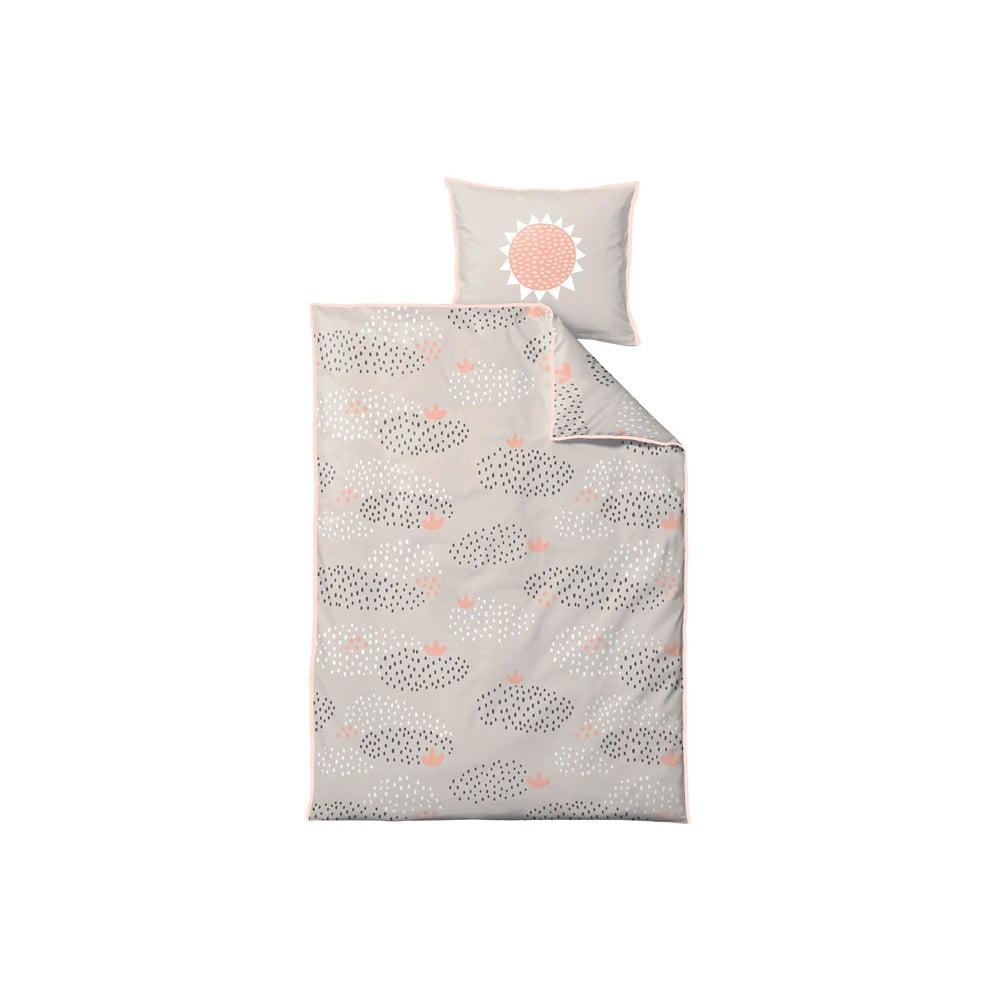 Béžovo-oranžové dětské povlečení z ranforce bavlny Södahl Raindrops NO,80x100cm