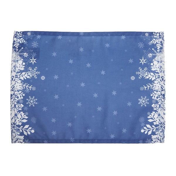 Set 2 suporturi farfurie cu model de Crăciun Apolena Honey Snowflakes, 33 x 45 cm, albastru