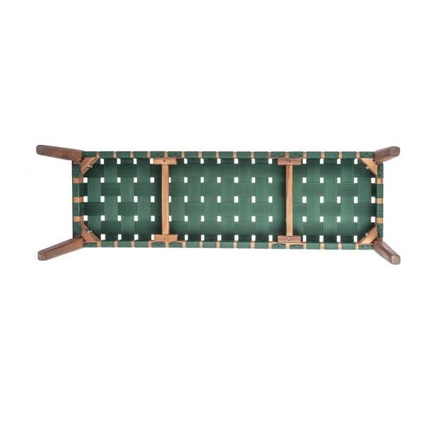 Zelená lavice z akáciového dřeva s nylonovým potahem Karlsson Weave