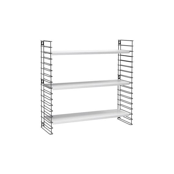 Czarna półka 3-poziomowa z białymi elementami Metaltex Libro, dł. 70 cm