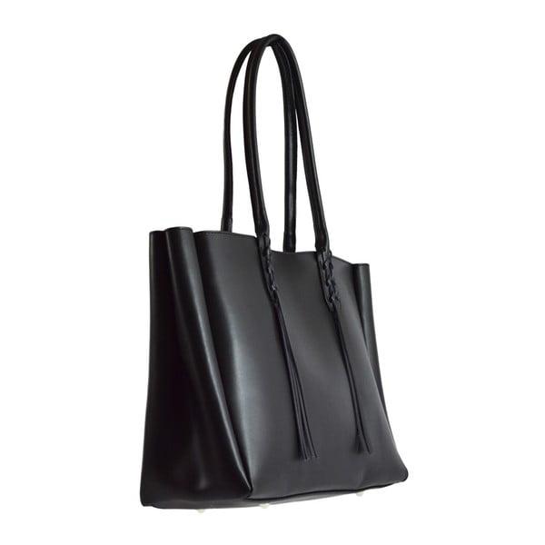 Černá kožená kabelka Chicca Borse Richie