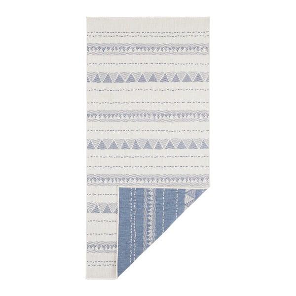 Covor reversibil adecvat interior/exterior Bougari Bahamas, 80 x 350 cm, albastru-crem