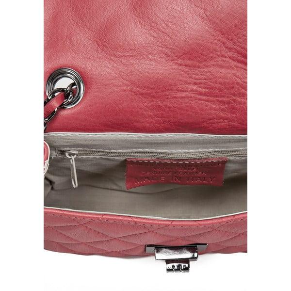 Červená kožená kabelka Lisa Minardi Silviana