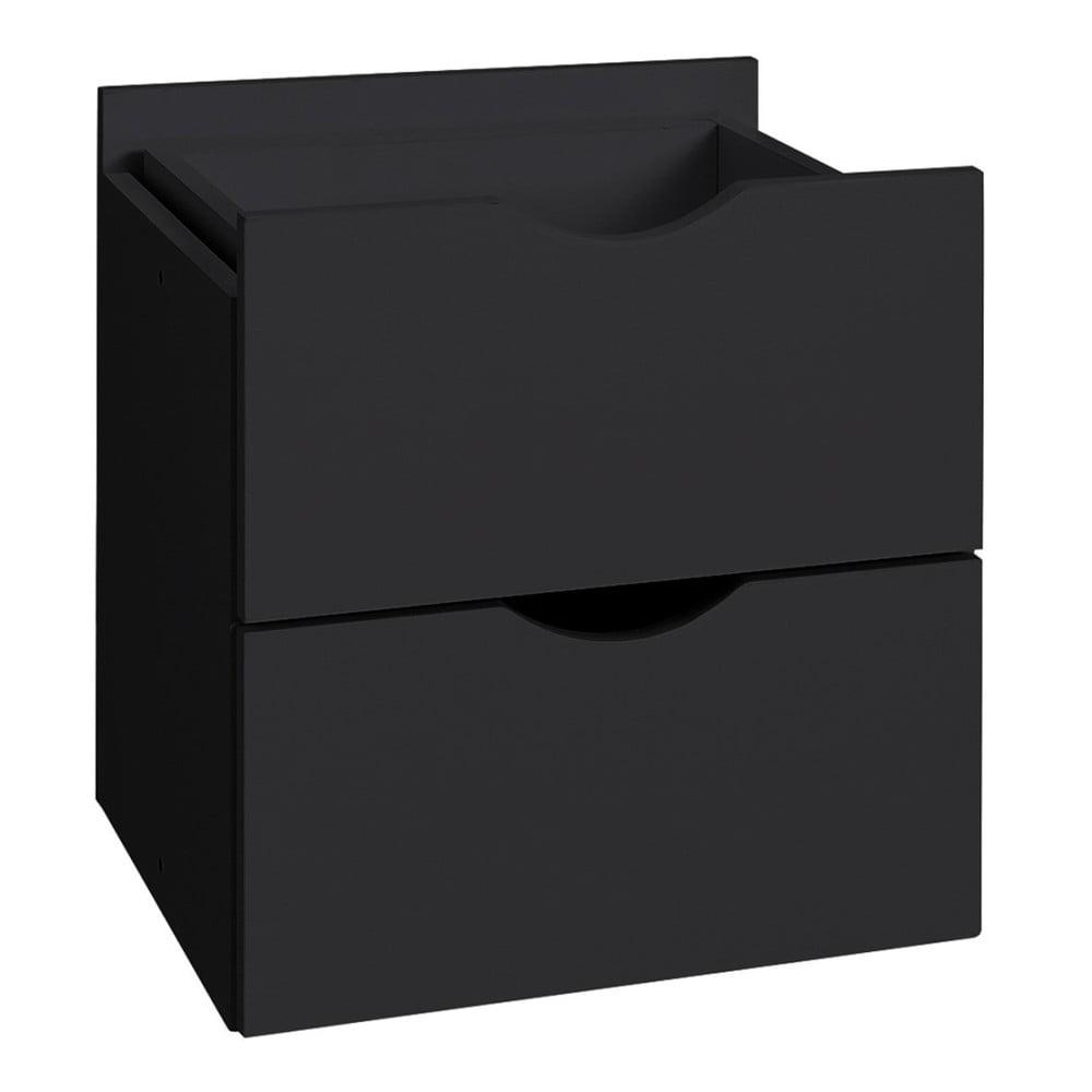 Černá dvojitá zásuvka do regálu Støraa Kiera, 33 x 33 cm