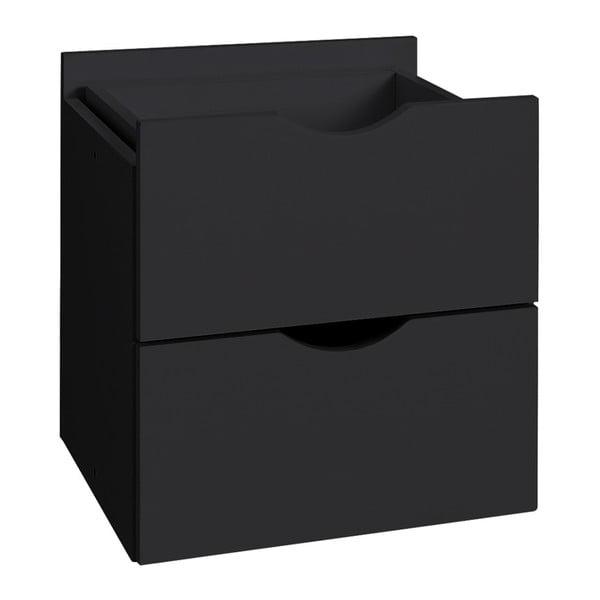 Černá dvojitá zásuvka do regálu Støraa Kiera, 33x33cm