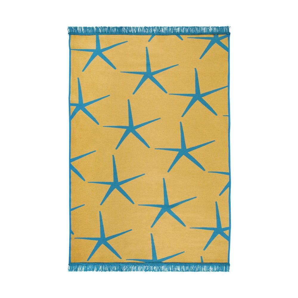 Modro-žlutý oboustranný koberec Starfish, 150 x 215 cm