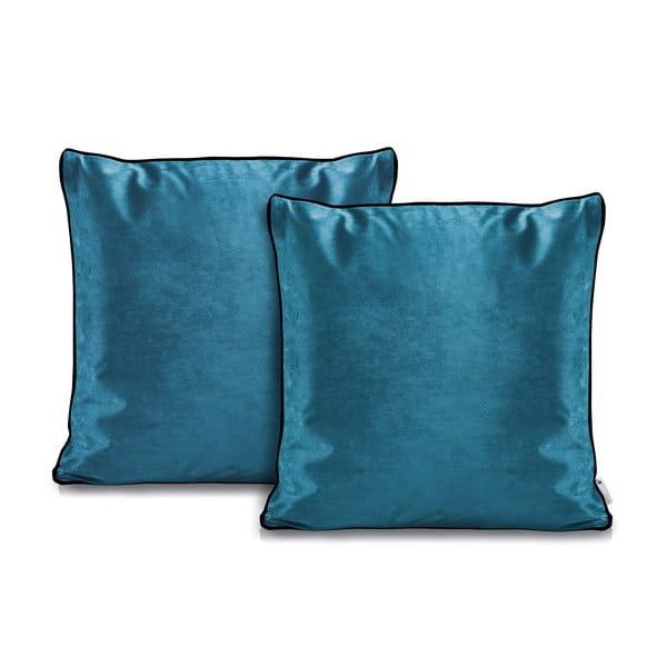 Sada 2 modrých povlaků na polštáře DecoKing Rimavelvet Marine, 45 x 45 cm