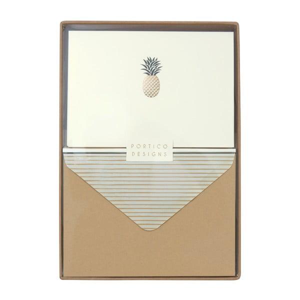 Pineapple 10 db-os üdvözlőlap és boríték szett - Portico Designs
