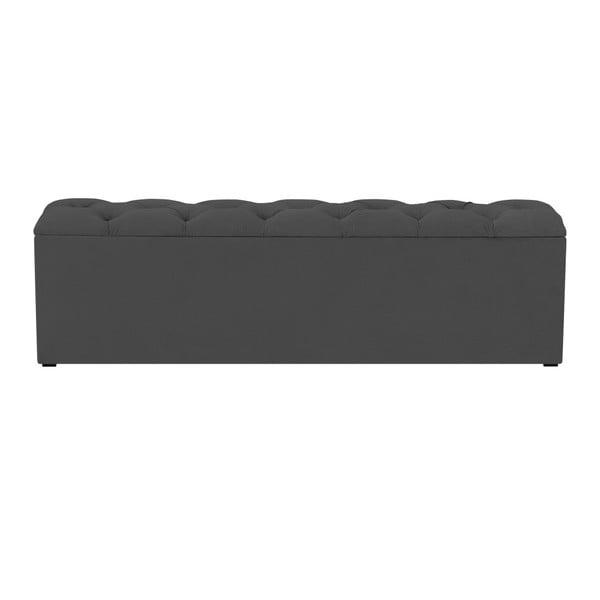 Tmavě šedý otoman k posteli s úložným prostorem Kooko Home Manna, 47 x 140 cm