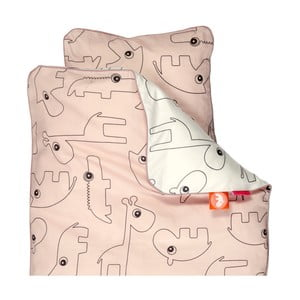 Lenjerie de pat pentru copii Done By Deer Contour, 70 x 100 cm, roz