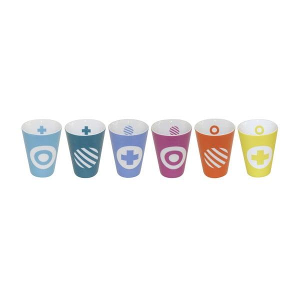 Sada 6 šálků na espresso Technicolor