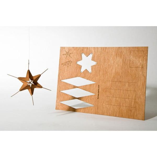 Drewniana kartka świąteczna Formes Berlin Gwiazda, 14,8x10,5 cm