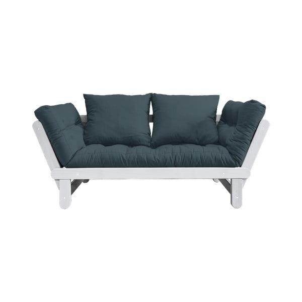 Sofa rozkładana z niebieskozielonym pokryciem Karup Design Beat White/Petrol Blue
