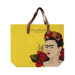 Žlutá plátěná taška Madre Selva Frida Roses, 55x40cm