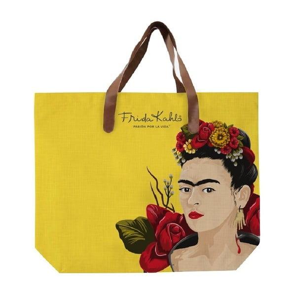 Frida Roses sárga vászontáska, 55x40cm - Madre Selva