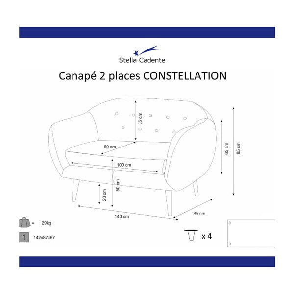 Krémová dvoumístná sedačka Scandi by Stella Cadente Maison Constellation