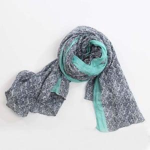 Šátek, černobílý vzor s akcentem tyrkysové
