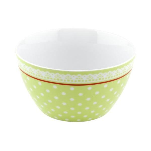 Porcelánová miska Dots, zelená 4 ks