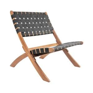 Scaun din lemn de salcâm Leitmotiv Weave, negru