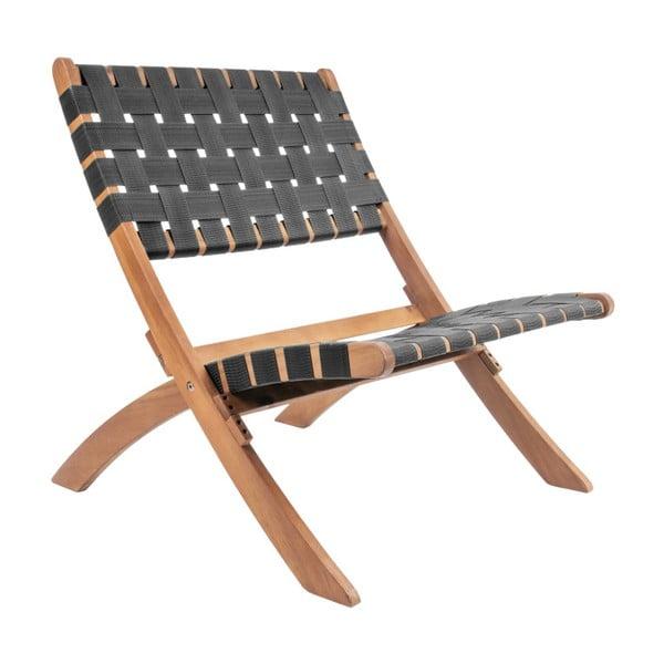 Czarne krzesło z drewna akacjowego z nylonowym obiciem Leitmotiv Weave