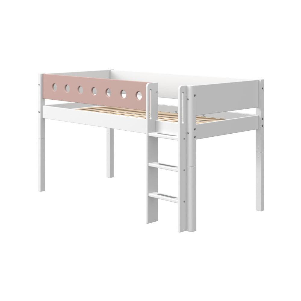Růžovo-bílá dětská postel Flexa White, výška 120 cm