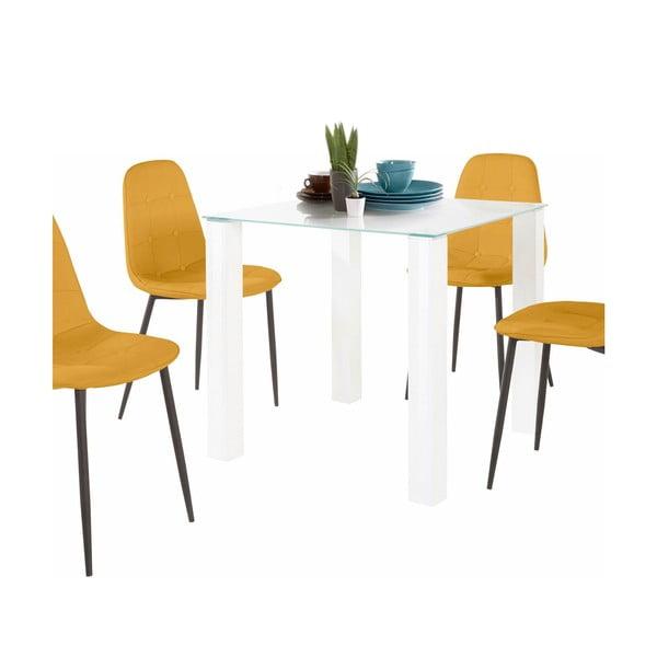 Sada jídelního stolu a 4 žlutých židlí Støraa Dante, délka stolu 80 cm