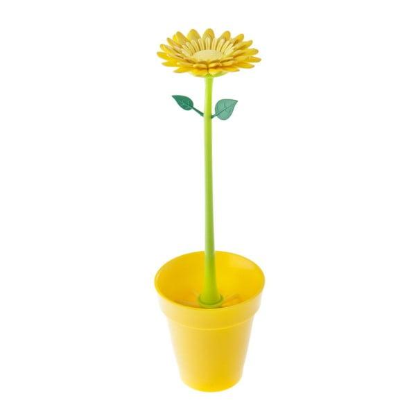 Štětka na sklenice Flower Power, žlutá