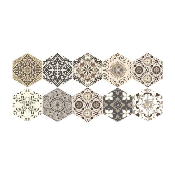 Set 10 autocolante de podea Ambiance Hexagons Luiza, 40 x 90 cm