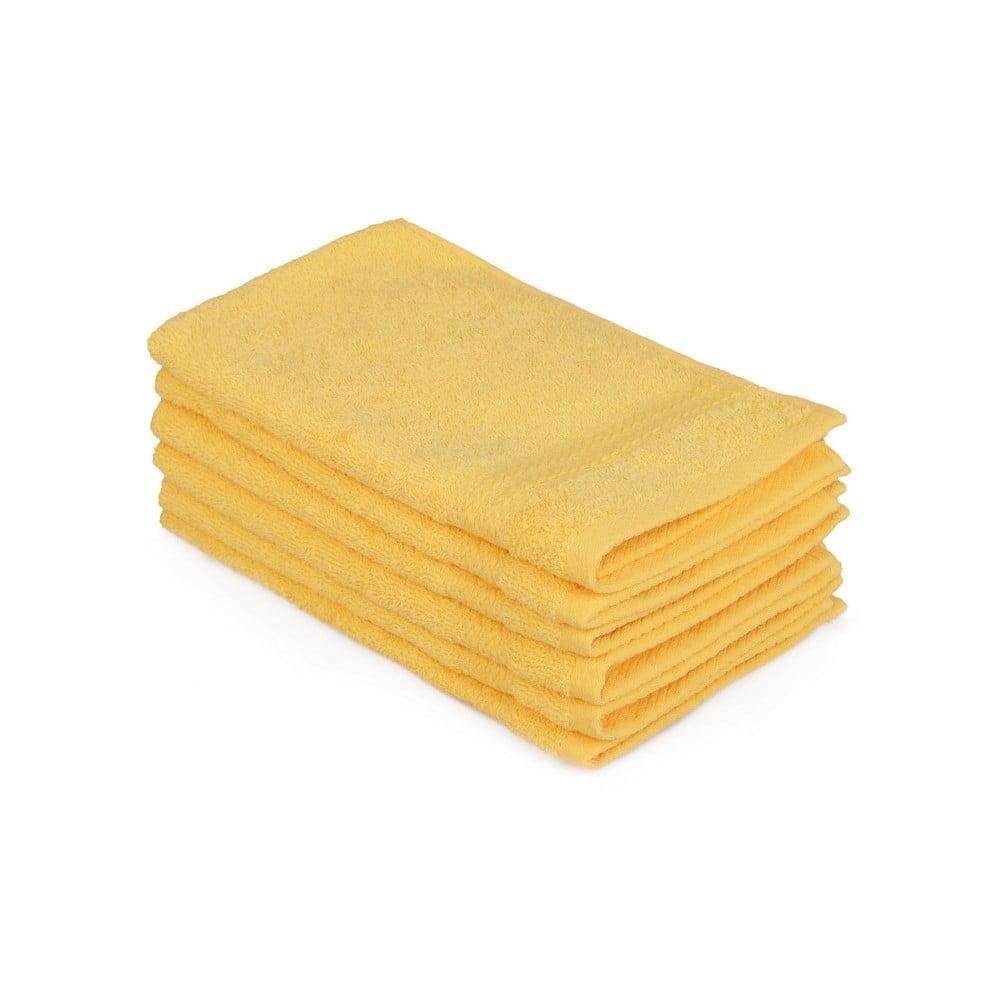 Sada 6 žlutých bavlněných ručníků Madame Coco Lento Amarillo, 30 x 50 cm Hobby