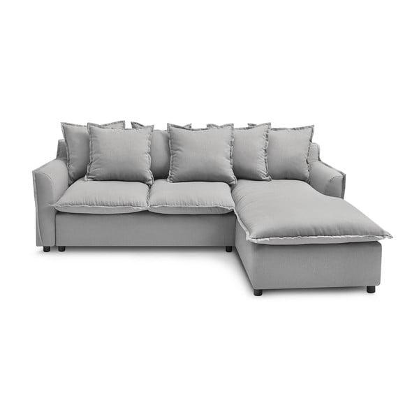 Jasnoszara sofa rozkładana Bobochic Paris Mona, prawostronna